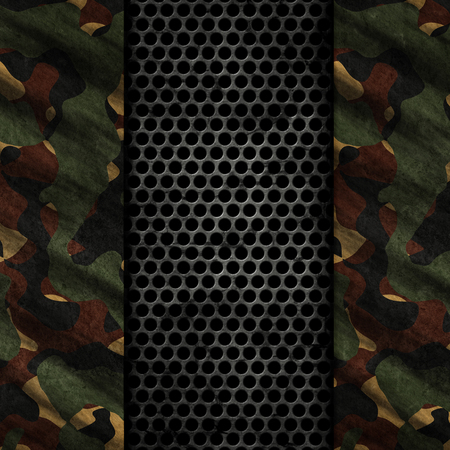 3D render of a grunge background with metal and camouflage textures Banco de Imagens