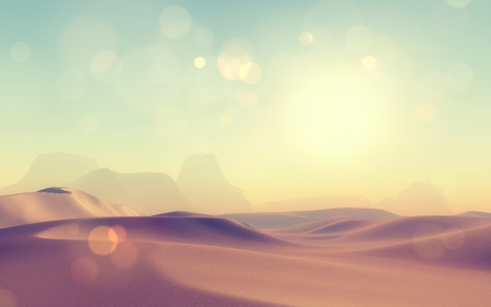 3D render of a retro styled desert scene