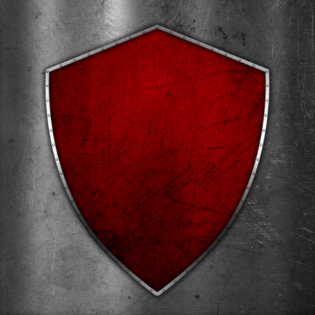 3D render of a grunge shield on scratched metal background