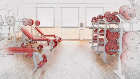 3D render of a sketched background of a gym interior Stock Photo