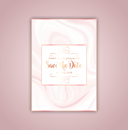 Elegant save the date invitation with a pink marble texture Stock Photo