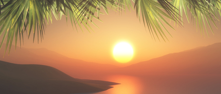 3D render of a tropical landscape with sunset sky and palm tree fronds Stock Photo