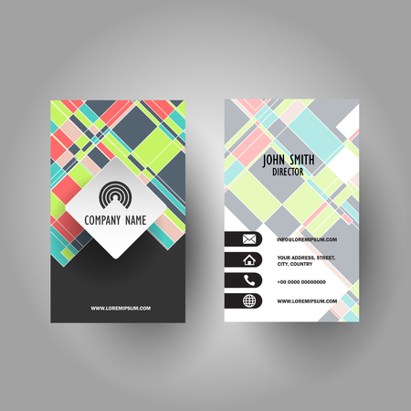 Business card with colourful geometric design Stock Photo