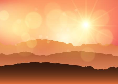 Landscape of hills against a sunset sky
