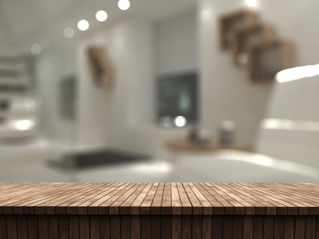 3D render of a wooden table looking out to a defocussed room interior