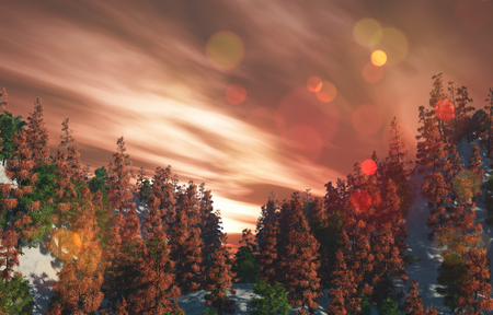 3D render of a landscape with trees on mountains against a sunset sky