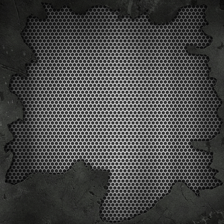 3D grunge cracked texture on a perforated metallic background