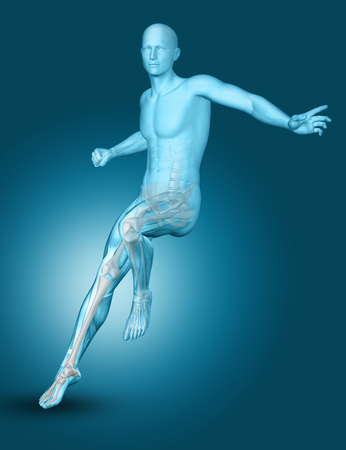 3D render of a male medical figure landing on one foot
