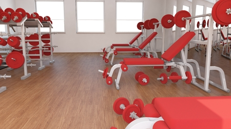 3D Render of a Interior view of a Gym