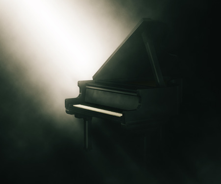 3D render of a piano under moody lighting Stock Photo