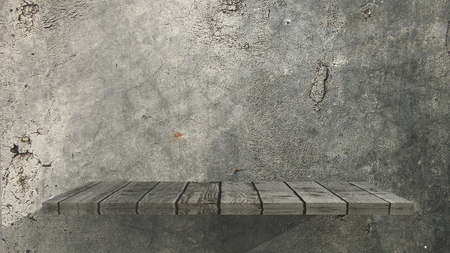 3D render of an old wooden shelf on a grunge wall
