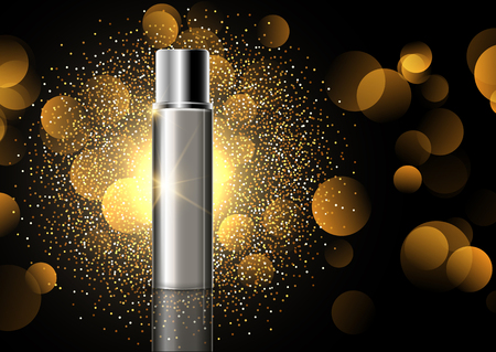 Blank cosmetic bottle on a gold glitter display background Stock Photo