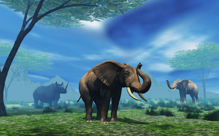 3D render of a landscape with elephants and rhino Stock Photo