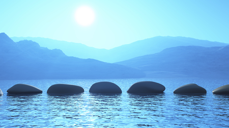 3D render of stepping stones in the ocean against a mountain landscape