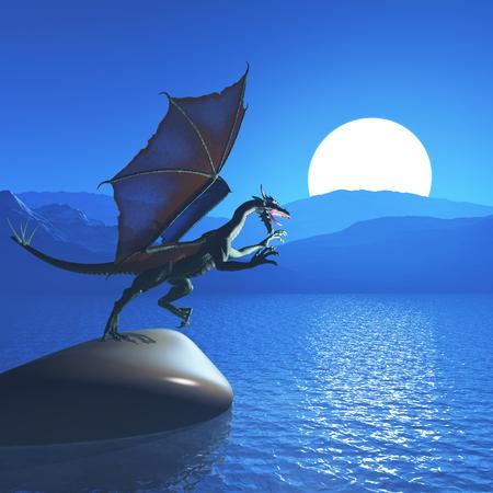 3D render of a fantasy dragon against mountain landscape