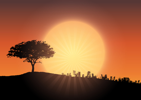 Silhouette of a tree landscape against a sunset sky