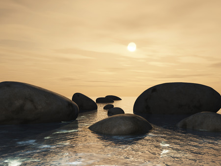 3D render of a landscape with stepping stones in an ocean against a sunset sky