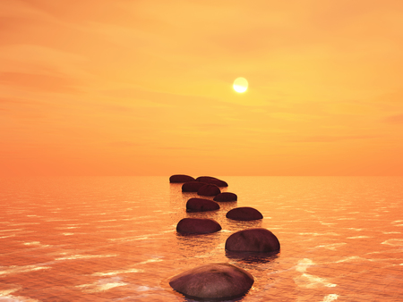 3D render of stepping stones in an ocean against a sunset sky Stock fotó - 107093166