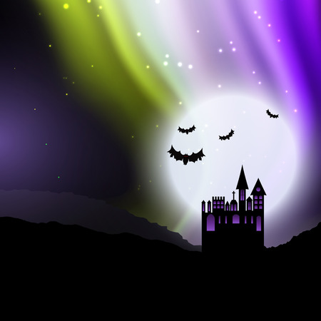 Halloween background with spooky house against sky with northern lights