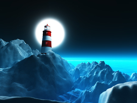 3D render of a lighthouse on rocky cliffs against a night sky