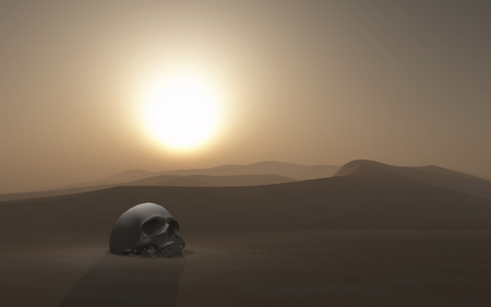 3D render of a skull buried in a desert against a sunset sky