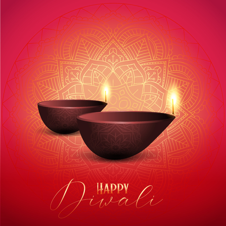 Decorative Diwali background with oil lamps