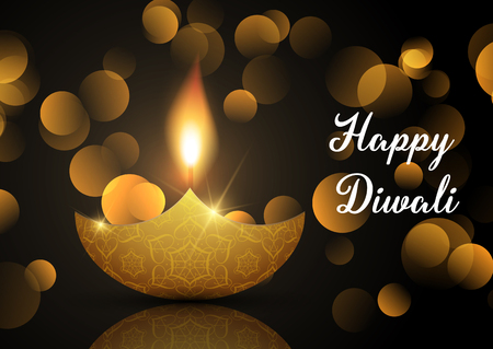 Diwali lamp background with bokeh lights and oil lamp
