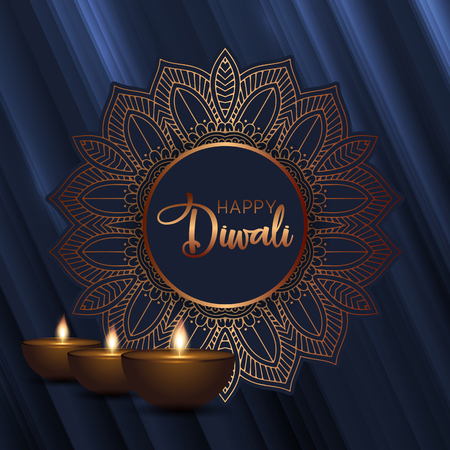 Decorative background for Diwali with oil lamps Stock Photo