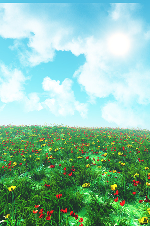 3D render of a flower landscape with poppies and buttercups Stock Photo