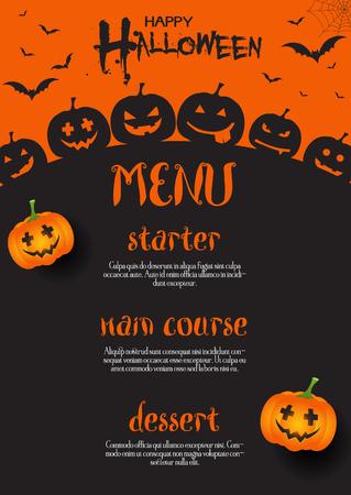 Halloween menu design with pumpkins and bats