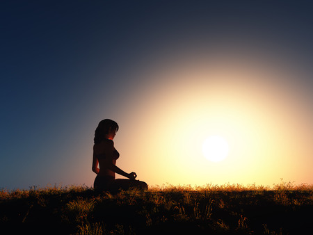 3D render of a female in yoga position against sunset sky 写真素材