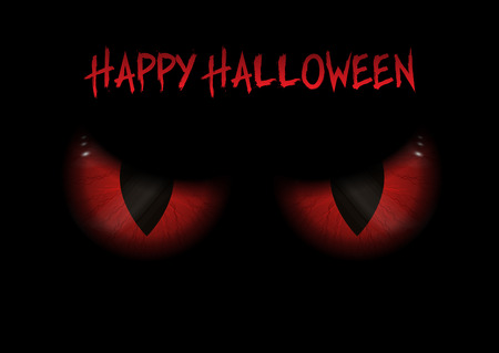 Halloween background with red evil eyes Stock Photo