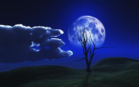 3D render of a Halloween background with spooky tree against a moonlit sky Reklamní fotografie