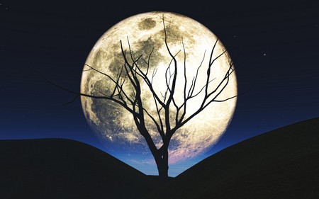 3D render of a Halloween background with tree silhouetted against the moon