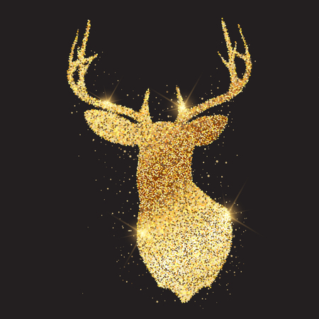 Festive background with glittery gold deer head Stockfoto