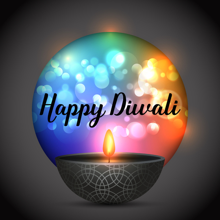 Diwali background with oil lamp on a bokeh lights background