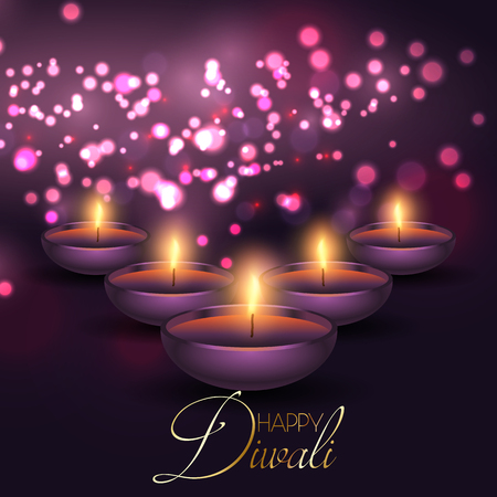 Diwali background with oil lamps on a bokeh lights background