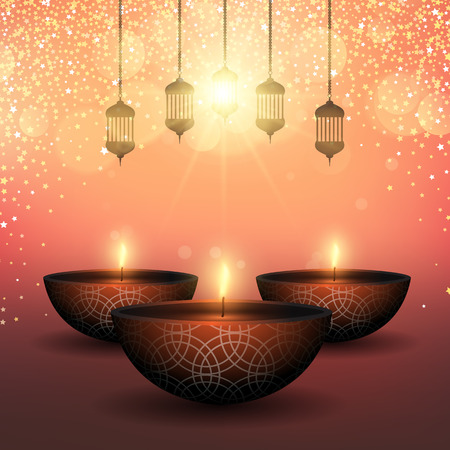 Diwali background with oil lamps on a starry background