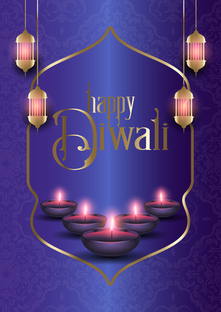 Decorative background for Diwali with oil lamps and hanging lanterns Stock Photo