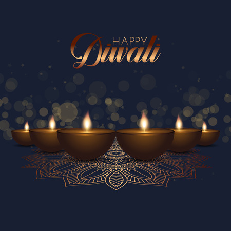 Diwali background with oil lamps and bokeh lights design Stock Photo