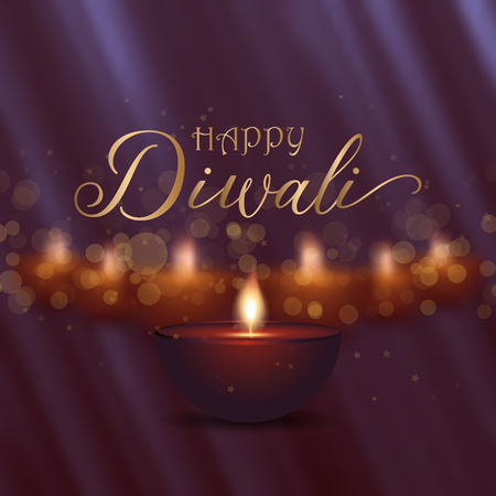 Decorative Diwali background design with oil lamps