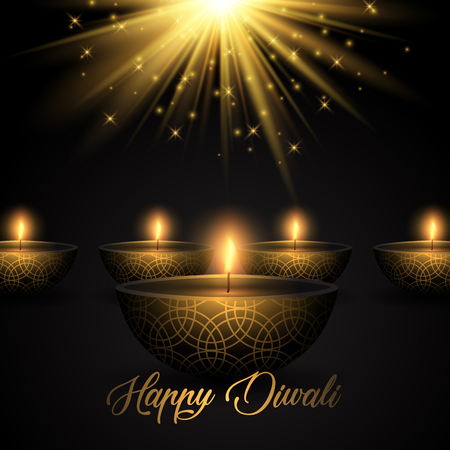 Diwali background with oil lamps on a starburst background