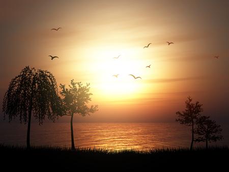 3D render of a silhouette of a tree landscape against a sunset ocean landscape