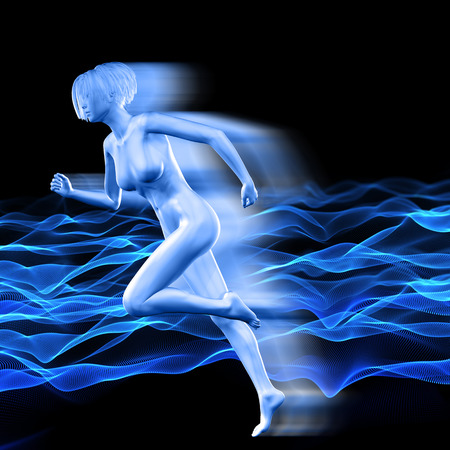 3D render of a female figure with speed effect on background of flowing dots