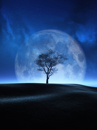 3D render of a tree against a moon night sky