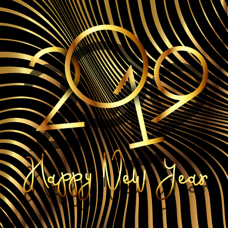 Happy New Year metallic background with warped stripe design