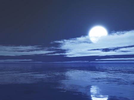 3D render of a moonlit ocean