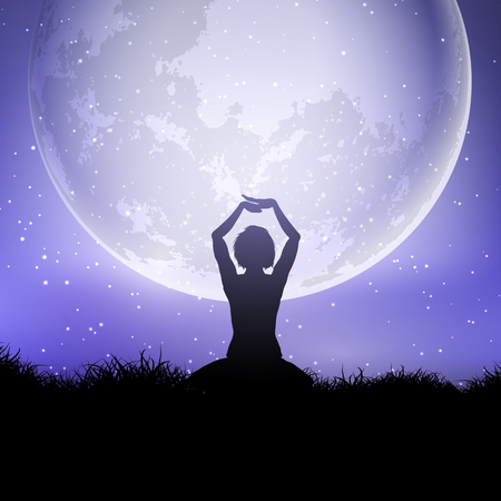 Silhouette of a female in yoga pose against a moonlit sky