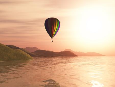 3D render of a hot air balloon against sunset landscape