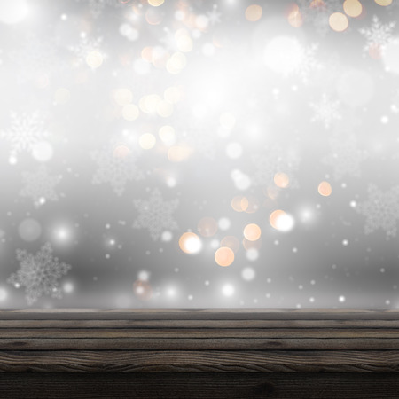 3D render of a wooden table looking out to a defocussed Christmas background